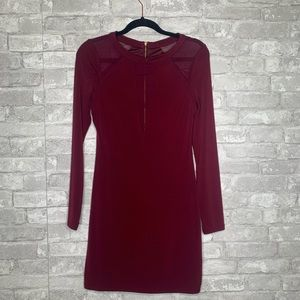 Express Long Sleeved Sheer Arm Burgundy Dress